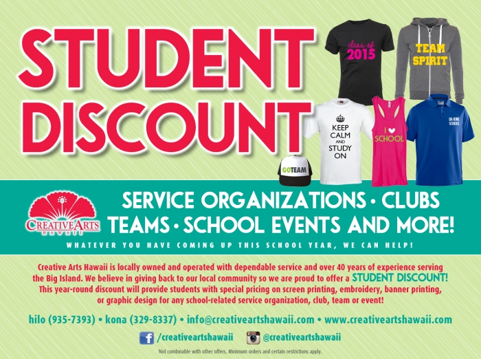 Student Discount available at Creative Arts Hawaii!